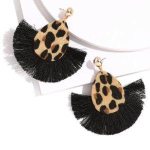 Teardrop leopard black fringe statement earrings
